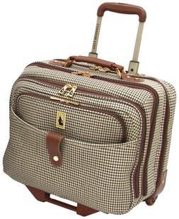 London Fog Luggage Chelsea 17 Inch Computer Bag, Olive Plaid