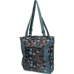 Everest Luggage Laptop Tote Bag, Teal/Brown Bubbles, Teal Bl