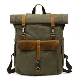 Manhattan Western Style Canvas Leather Backpack, Laptop Back