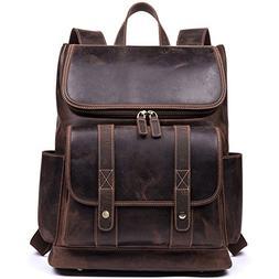 WESTBRONCO Men Backpack Best Cowhide Travel Bag College Offi