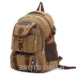 KAUKKO Men Canvas Backpack Laptop School Satchel Travel camp
