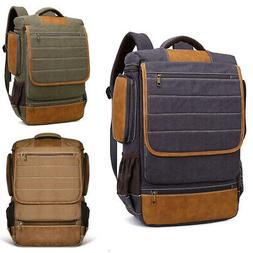 men canvas backpack rucksack bag laptop camping