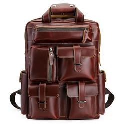 """Men Genuine Leather Backpack 17"""" Laptop Bag Large Hiking Tra"""