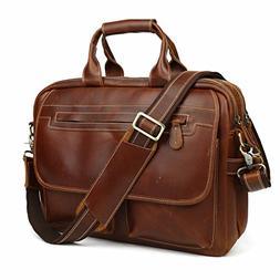 Leather Briefcase Tote Portfolio BriefCase Messenger Shoul