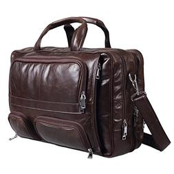Polare Real Leather 17''Laptop Carry On Overnight Bag Busine