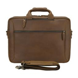 "Men Leather Backpack 17"" Laptop Briefcase School Bag Shoulde"