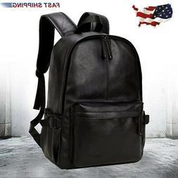 Men Leather Backpack Rucksack Laptop Satchel Bookbag Travel