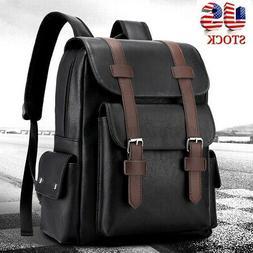 Men Leather Backpack Shoulder Bag Weekender Travel School La