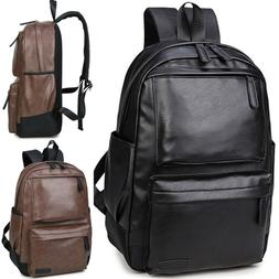 Men Leather Backpack Travel Satchel Laptop Rucksack Fashion