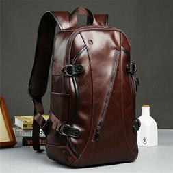 Men Leather Backpack Waterproof Laptop Shoulder School Book