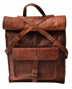 Men Leather Travel Backpack Rucksack Camping School Laptop S