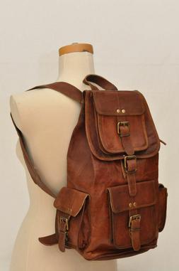 Men Leather Travel Rucksack Camping Satchel Shoulder Backpac