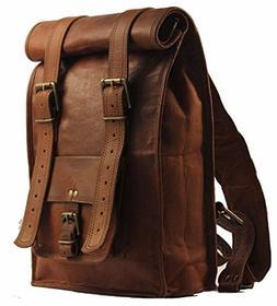 Urban Dezire Men's Leather Vintage Roll On Laptop Backpack R