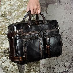 """Men Real Leather Daypack Backpack 16"""" Large Portfolio Travel"""