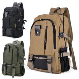 men retro canvas backpack rucksack travel sport