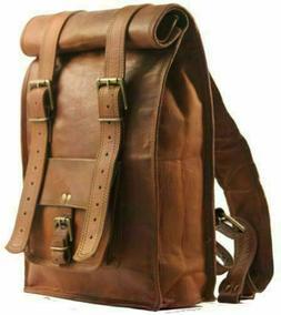 Men's Real Leather Backpack Laptop Bag Large Hiking Travel C