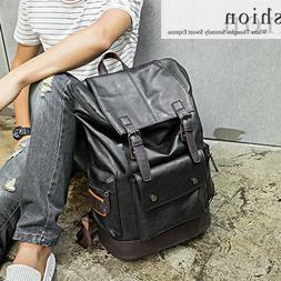 Men's Backpack PU Leather Shoulder Bag Weekender Travel Scho