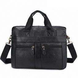 Men's Business Leather Briefcase Laptop Bags Travel Shoulder