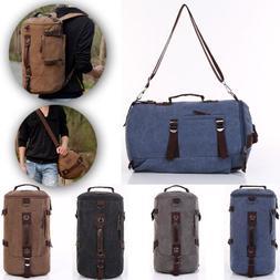 Men's Hiking Canvas Laptop Backpack Rucksack Shoulder Campin