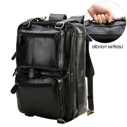 """Men's Leather 14"""" Laptop Backpack Messenger Shoulder Bag Por"""