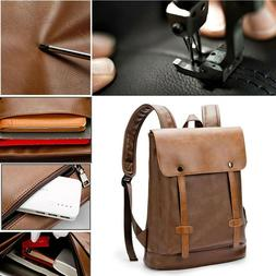 Men's Leather Backpack Shoulder Bag College School Laptop Ba