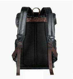 Men's Leather Backpack Shoulder Bag Weekender Travel School