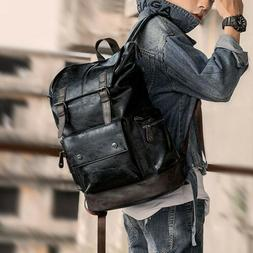 Men's Leather Backpack Shoulder Bag Weekender Travel School