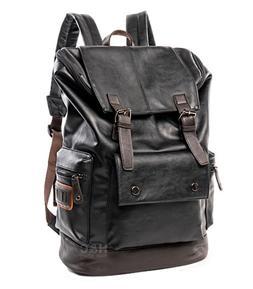 Men's PU Leather Travel Satchel Laptop Backpack Rucksack Hik