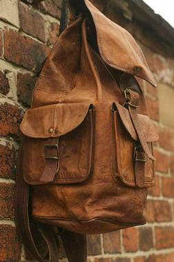 Men's Real Leather Vintage Laptop Backpack Rucksack Hang Mes