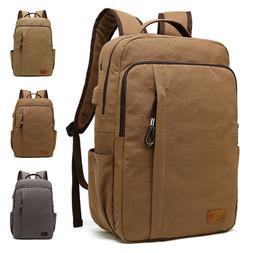 Men's Travel Canvas Backpack USB Charging Rucksack Hiking La
