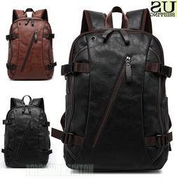 Men's Vintage Backpack School Bag Travel Satchel PU Leather