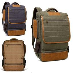 Men's Vintage Canvas Backpack Rucksack School Laptop Satchel