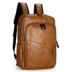 Men's Vintage Travel Leather PU Backpack Shoulder Laptop Sch