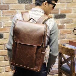 Men's Vintage Travel PU Leather Backpack Shoulder School Lap