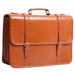 Leathario Men's Shoulder Leather Laptop Briefcase Business O