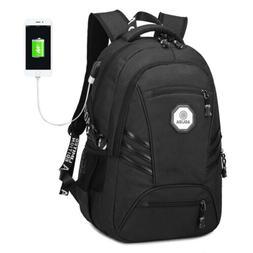 "Men USB Port Backpack 17"" Laptop Bags Waterproof Travel Back"