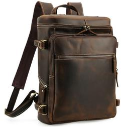 "Men Vintage Leather Backpack 15"" Laptop Hiking Shoulder Bag"