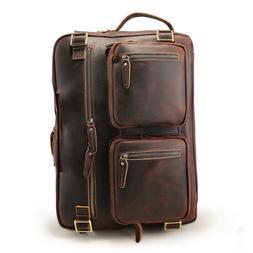 """Men Vintage Leather Backpack 16"""" Laptop Briefcase Travel Hik"""