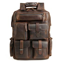 "Men Vintage Leather Backpack Travel Office 17"" Laptop Daypac"