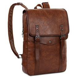 VBG VBIGER Mens PU Leather Backpack Vintage Laptop Backpack