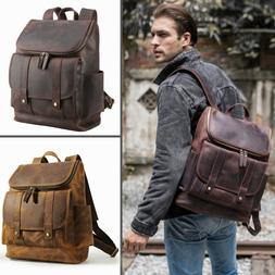 "Men Vintage Real Leather Backpack Travel Overnight 15"" Lapto"
