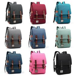 "Men Women 16"" Laptop Canvas Leather Backpack Travel Rucksack"