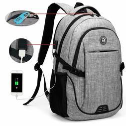 Men Women Anti-Theft Travel Backpack USB Port Shoulder Bookb