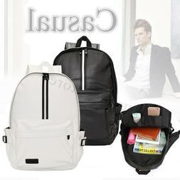Men Women Backpack Leather Laptop Satchel Shoulder School Ba