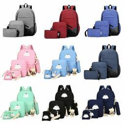 Men Women Girls Backpack Set Travel Shoulder School Bag Canv