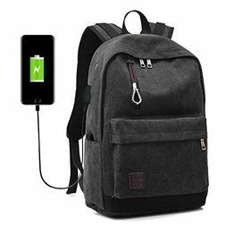 Men Women Laptop Backpack Black Rucksack Work Travel School