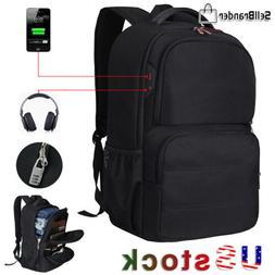 "Mens Anti Theft 17.3"" Laptop Backpack USB Charging Waterproo"