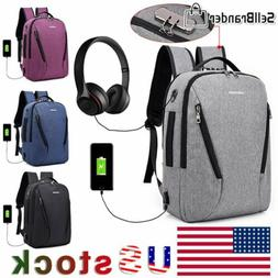 Mens Anti Theft Lock Laptop Backpack USB Charging Business T