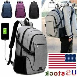 Mens Anti-Theft USB Charging Travel Shoulder Laptop Backpack