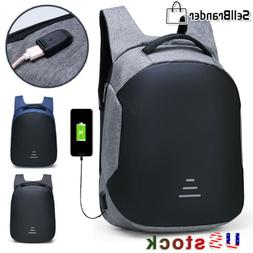Mens Anti Theft Waterproof 15.6 Laptop Backpack USB Charging